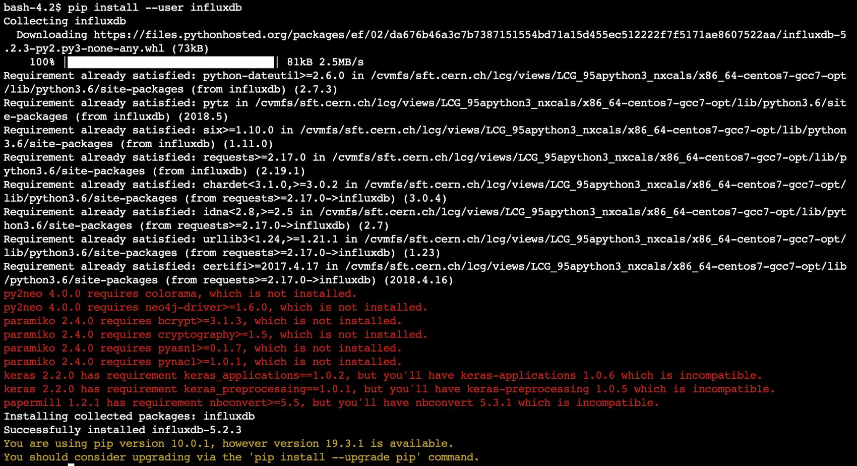 SWAN pip install influxdb